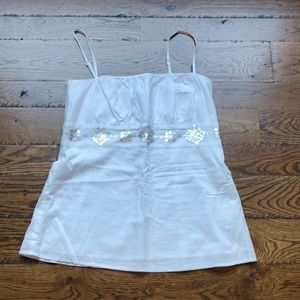 White cotton camisole with silver accent